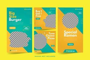 Restaurant Banner for Social Media Advertising Template Set vector
