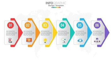 Infograph 6 step color chart diagram, business graph design vector