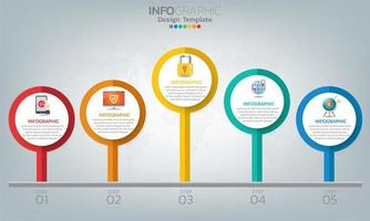 elementos de infografía empresarial con 5 opciones o pasos. vector