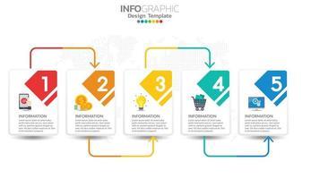 Elementos de infografía empresarial con 5 secciones o pasos. vector