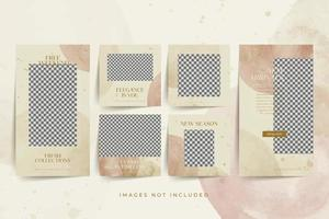 Watercolor social media post and stories template for fashion Premium Vector