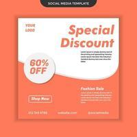 Plantilla de redes sociales de descuento especial. fácil de usar y editable. vector premium