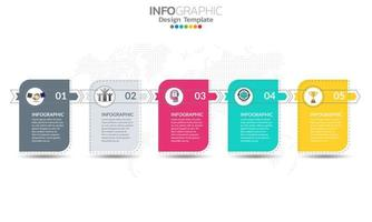 Timeline infographic template with 5 sections vector