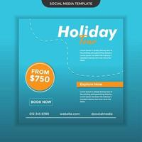 Modern Social Media Template Holiday Tour. Easy to Use. Premium Vector