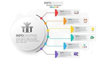 Infograph 6 step color element with circle graphic chart diagram, business graph design.