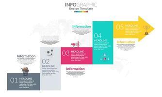 Plantilla de infografía de línea de tiempo con flechas y diseño plano de 7 opciones vector