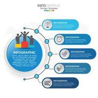 Elementos de infografía empresarial con 5 secciones o pasos, tema azul. vector