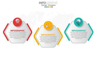 Timeline infographic template with 3 sections vector