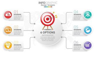 Plantilla de infografía de línea de tiempo con flechas y diseño plano de 6 opciones vector