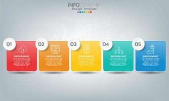 Elementos de infografía de línea de tiempo empresarial con 5 secciones o pasos. vector