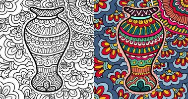 Hand drawn flower pot henna abstract zen tangle Colouring book page for adult and children.