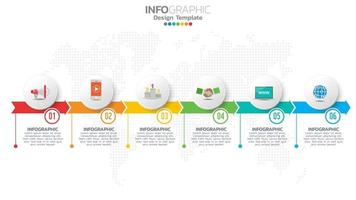 Infograph 6 step color element with arrow, chart diagram, business online marketing concept.