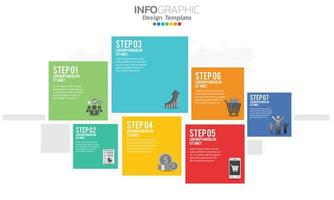 Business infographic elements with 7 sections or steps vector