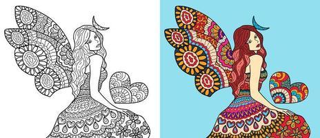 Dibujado a mano hada ángel estilo henna fondo abstracto página de libro para colorear para adultos y niños. vector