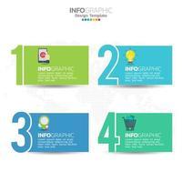 Elementos de infografía empresarial con 4 secciones o pasos, tema azul. vector