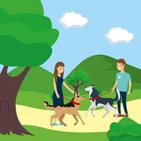 People walking dogs outdoors vector