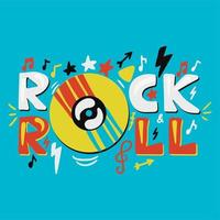 inspirational and motivational hand drawn concept Rock and Roll vector