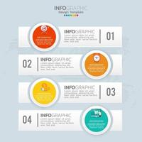 Business infographic elements with 4 sections or steps vector