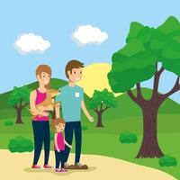 familia haciendo actividades al aire libre vector