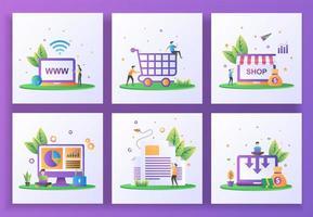 conjunto de concepto de diseño plano. sitio web, compras felices, tienda online, seguridad de datos, boletín vector