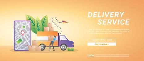 Servicios de entrega de mercancías en línea entrega a domicilio y oficina, entrega gratuita y entrega rápida. vector