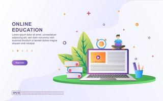 Illustration concept of online education. Online education, training and courses, learning. vector