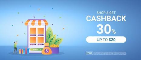 Get cashback from online shopping. Reward program for loyal customers. vector