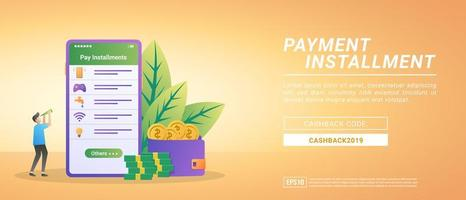 Pay installment concept. Bill payments using the mobile app. Paying internet, water, game vouchers vector