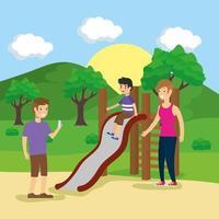 Family doing outdoors activities vector