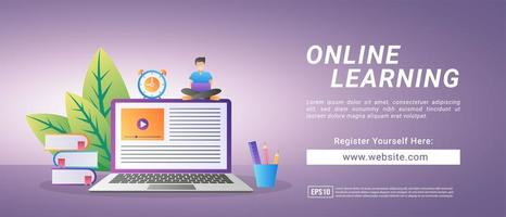 Online learning concept. Register for courses and study online. Digital education. vector