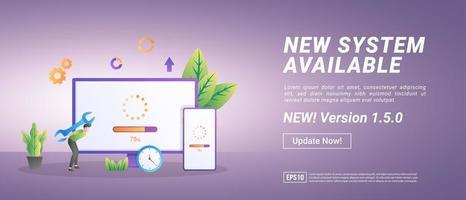 actualización del concepto del sistema. el proceso de actualización a la actualización del sistema, reemplazando versiones más nuevas. vector