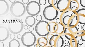 Fondo de círculos dorados y grises superpuestos abstractos vector