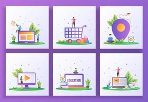 Set of flat design concept. We are hiring, Happy shopping, Location, Video play vector