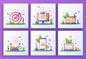 Set of flat design concept. Targeting, Breaking news, We are hiring, Send mail, Digital marketing vector