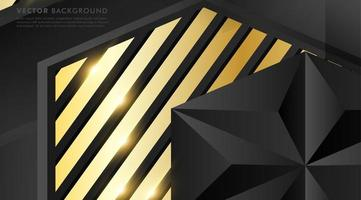 Gray polygon with gold light effect background vector