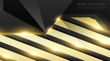 Black gray polygon with gold light effect background vector