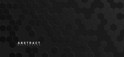 Fondo geométrico 3d abstracto de hexágonos negros vector