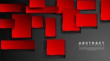 Fondo geométrico abstracto 3d cuadrados rojos vector