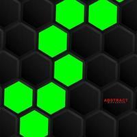 Fondo de geometría hexagonal verde vector abstracto