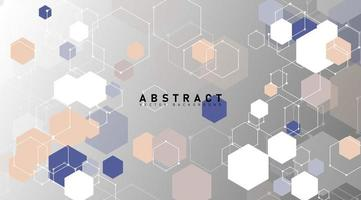 Overlapping pastel shapes and hexagon lines background vector