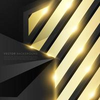 Gray polygon with gold light effect and gold rectangle background vector