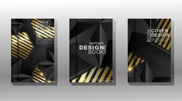 Luxury gold and black geometric cover design set vector