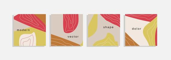 Vector set of minimal backgrounds with abstract organic shapes, hand draw line and sample text. Contemporary collage. Minimal stylish cover for branding design.