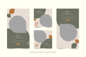 Fashion social media template set with premium background vector