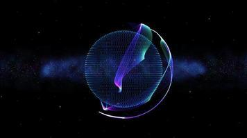 planeta espacial con fondo de bucle de capa de cubierta de energía de neón