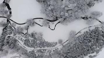 Ascending Top Down View of Snowy Park and Creek in 4 K video