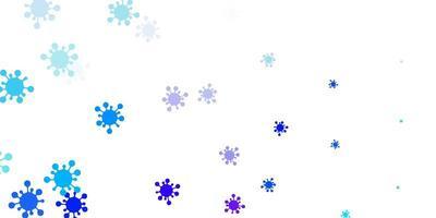 Fondo de vector rosa claro, azul con símbolos de virus.