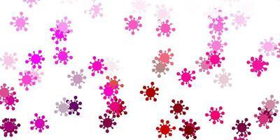 Fondo de vector rosa claro con símbolos covid-19.
