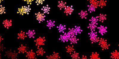 textura de vector de color rosa oscuro, amarillo con símbolos de enfermedades.