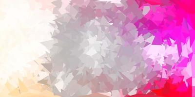 Light pink, yellow vector triangle mosaic background.